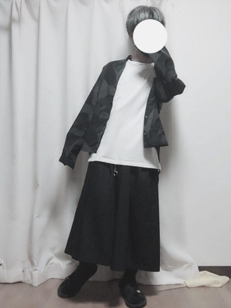 低身長の男性が袴パンツでAラインシルエットを作るときの参考コーディネート