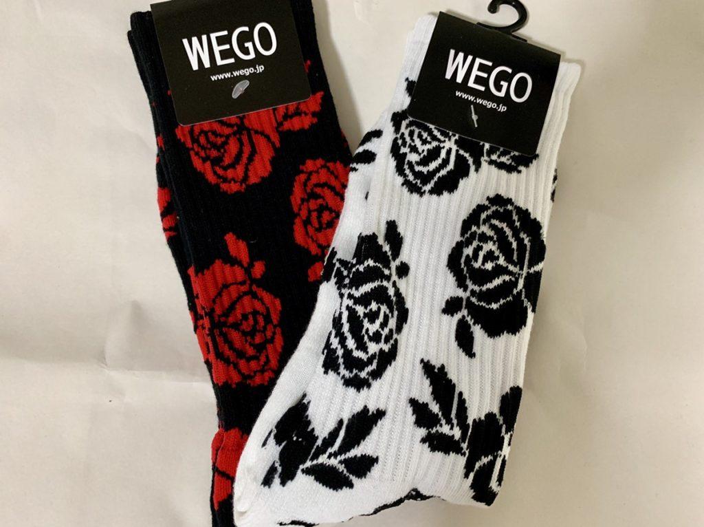 柄靴下花柄赤黒白黒